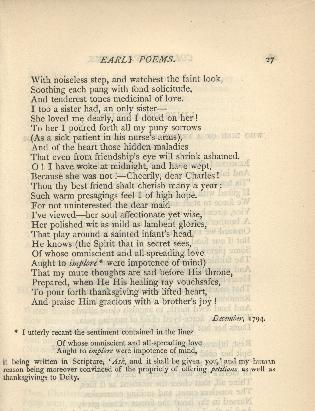 Coleridge, Poetical Works, To Charles Lamb Note