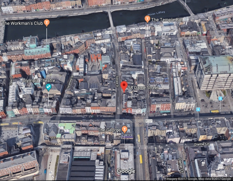 58 Dame Street, Dublin on Contemporary Google Maps