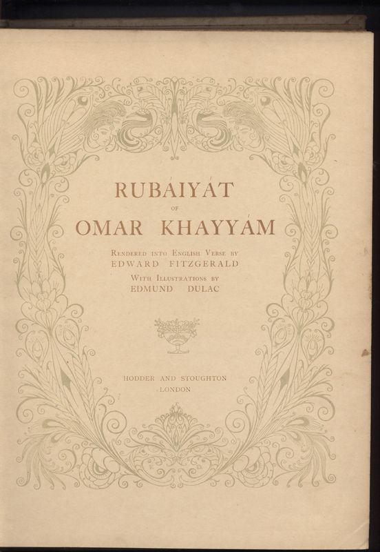 Title Page of Fitzgerald's Rubaiyat Published by Hodder & Stoughton (1909)