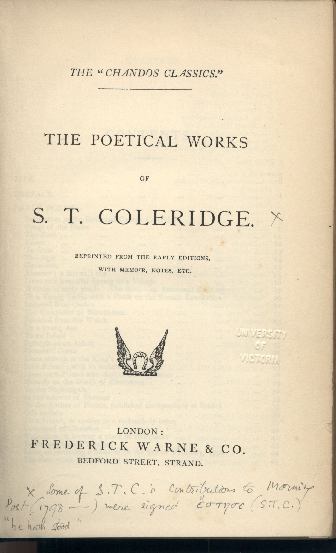 Coleridge, Poetical Works: Publisher's Page