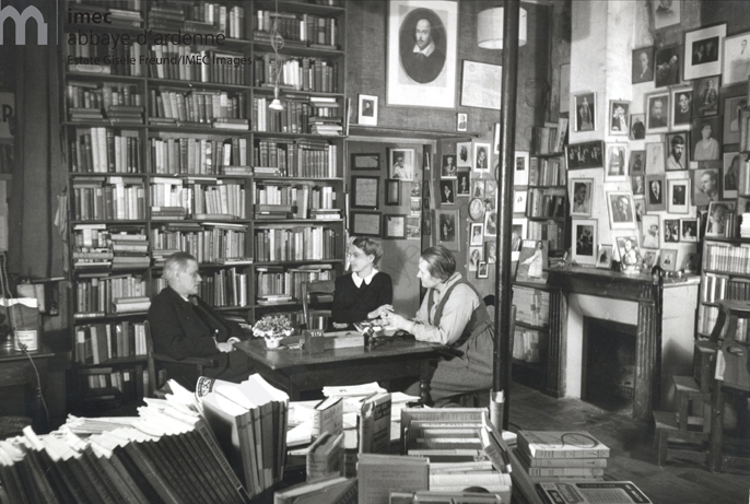 James Joyce, Sylvia Beach, and Adrienne Monnier in Sylvia's bookshop: Shakespeare and Co.