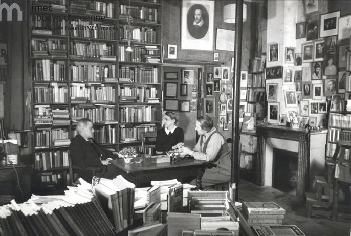 James Joyce, Sylvia Beach, and Adrienne Monnier in Sylvia's bookshop: Shakespeare and Co.