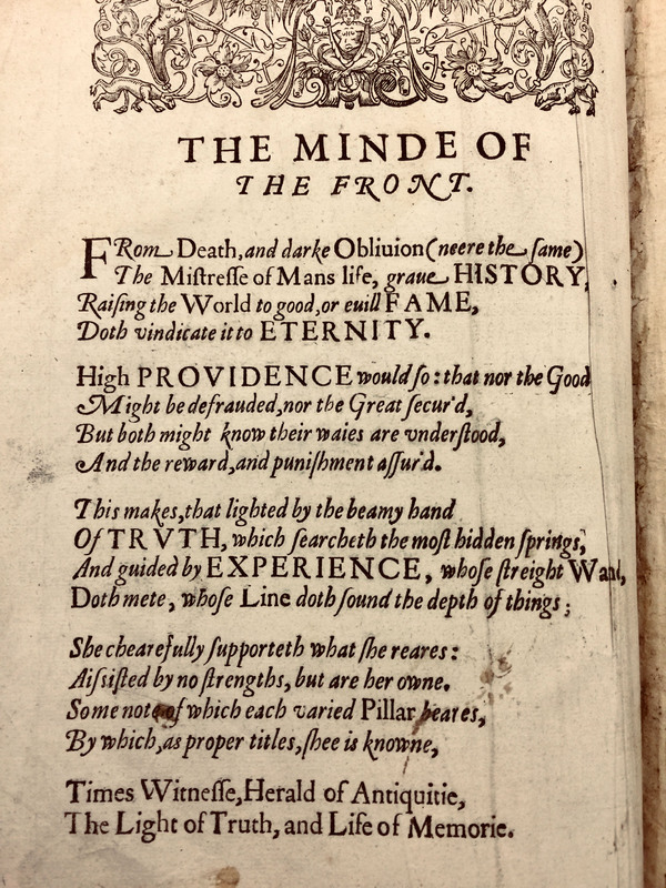 Ben Jonson's Explanatory Poem from Walter Ralegh's History of the World, 1614