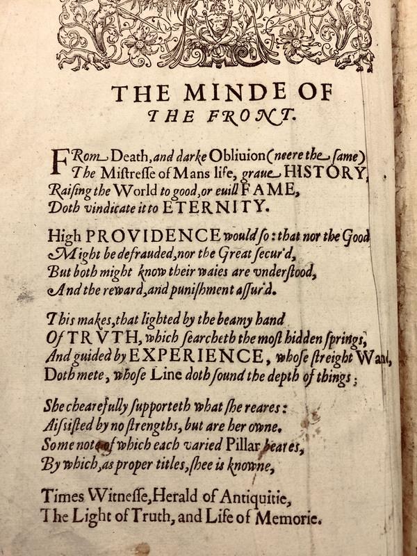 Ben Jonson's Explanatory Poem from Walter Ralegh's History of the World, 1614