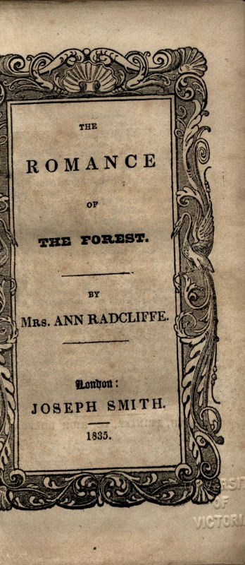 <em>The Romance of the Forest</em> Title Page, 1835.