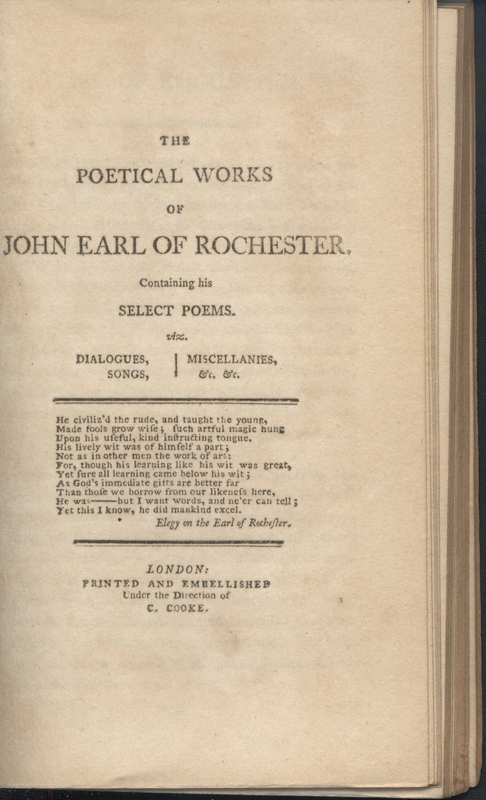 Title page for The Poetical Works of John Earl of Rochester