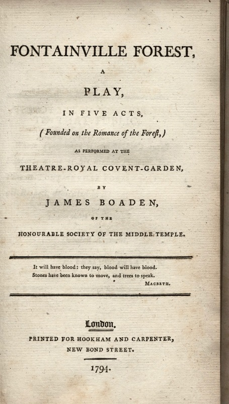 Title Page for James Boaden's <em>Fontainville Forest.</em>