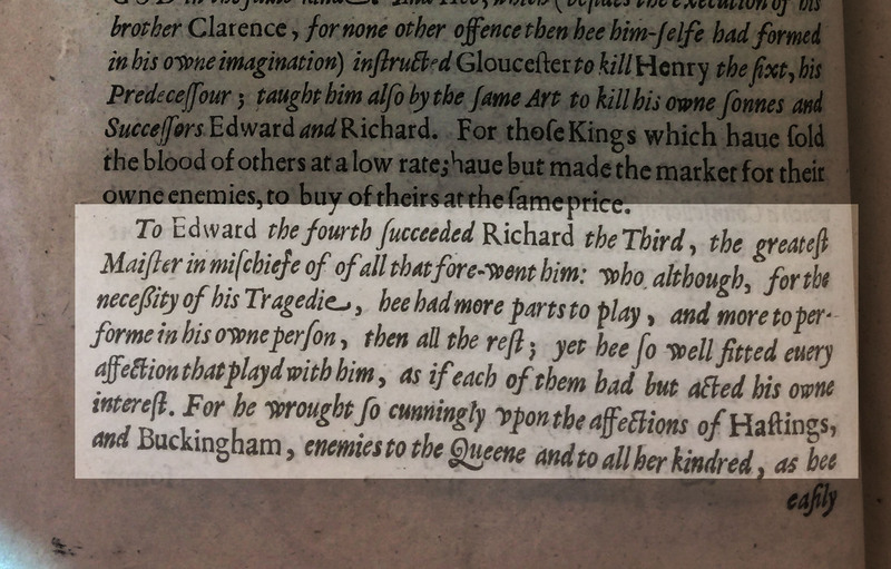 Excerpt from the Preface of Sir Walter Ralegh's History of the World exemplifying his use of theatrical language and Richard III