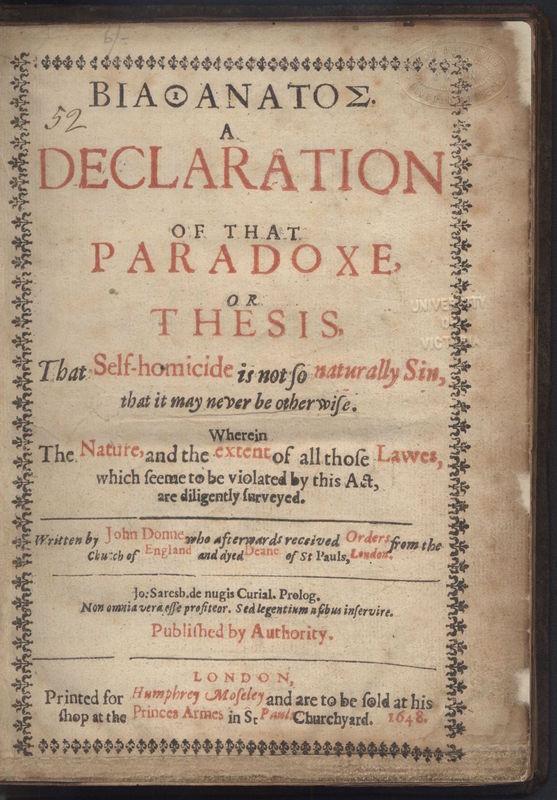 Title Page of John Donne's <em>Biathanatos</em>