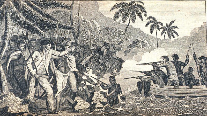 The death of Captain James Cook at Kealakekua Bay, Hawaii
