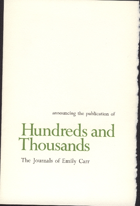 introduction to limited edition copy of Hundreds and Thousands