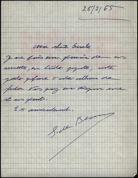Letter from Simone de Beauvoir, 1965