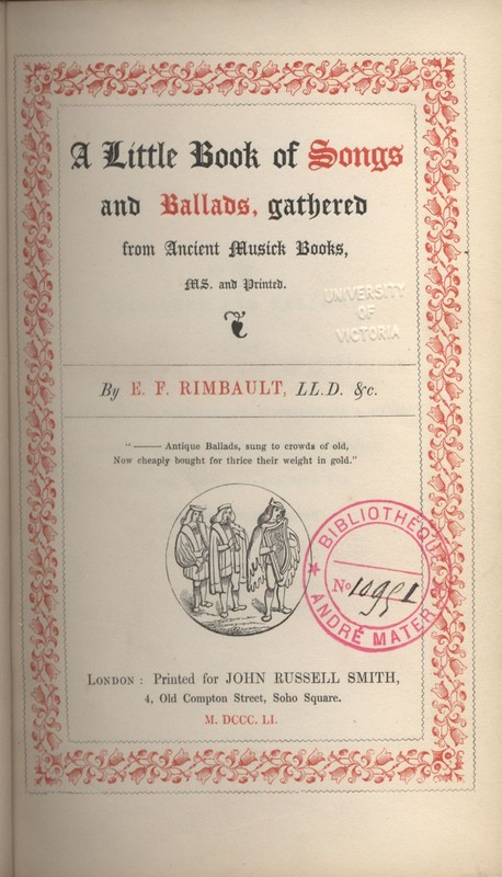 Title page for <em>A Little Book of Songs and Ballads </em>