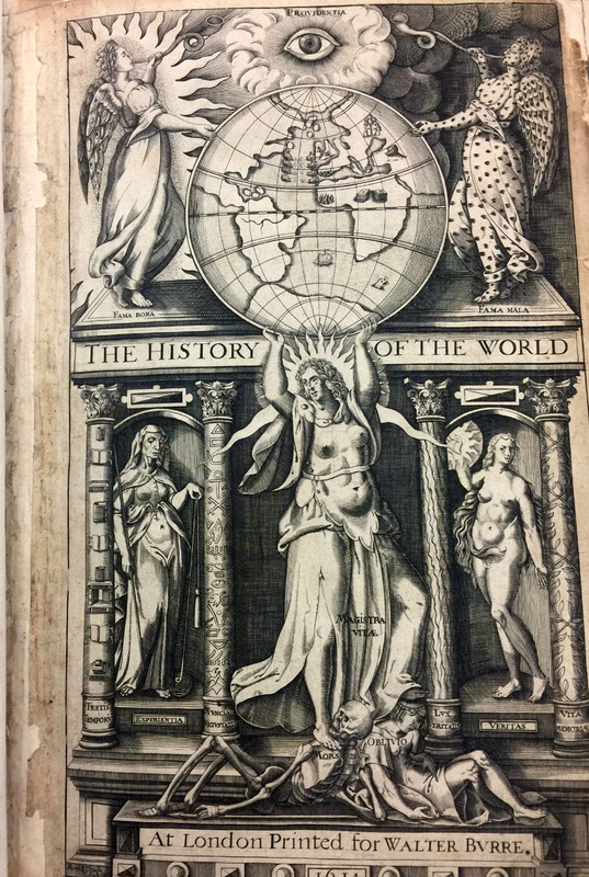 Frontispiece from Sir Walter Raleigh's<em> The History of the Worl</em>d, 1614.