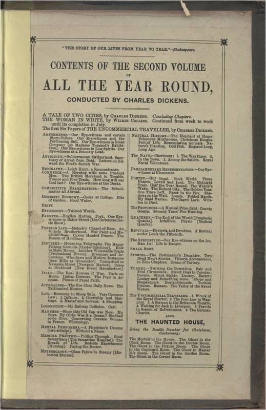 <em>All the Year Round </em>vol II Table of Contents