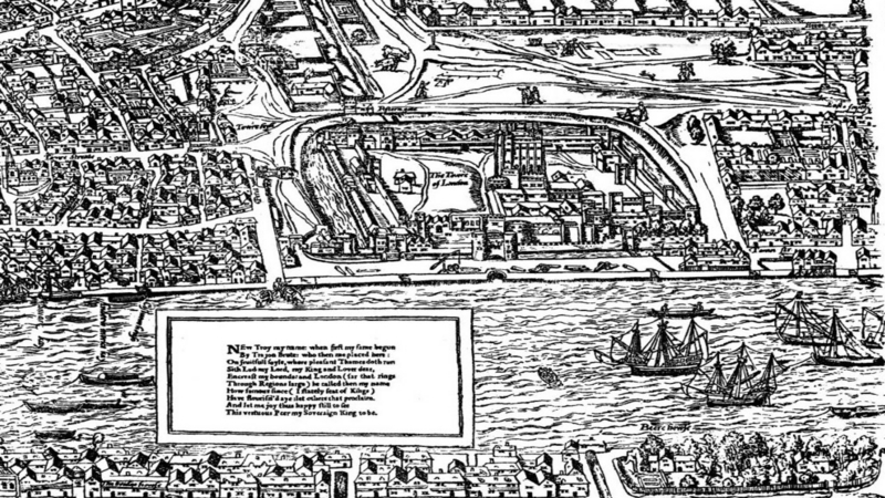 Agas Map depicting the Tower of London.