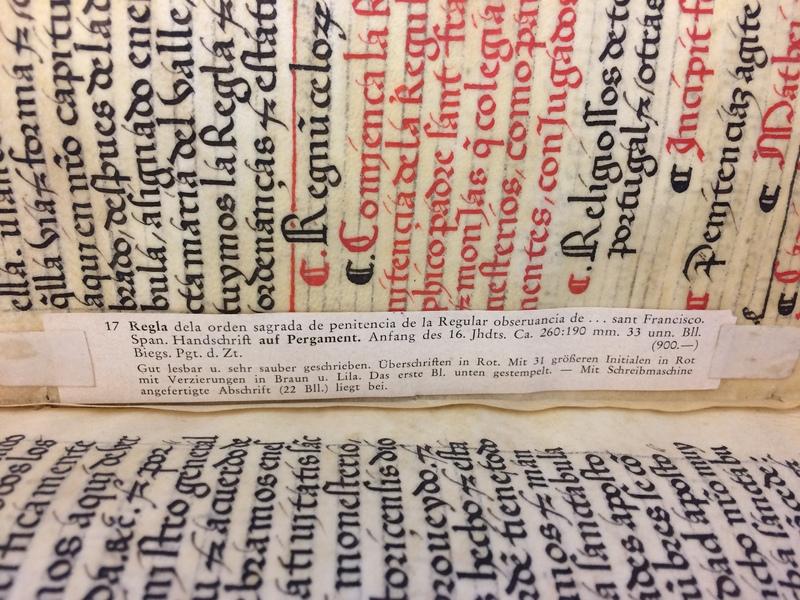 German bookseller slip.<em>Regla de la Sagrada Orden de Penitencia.</em>