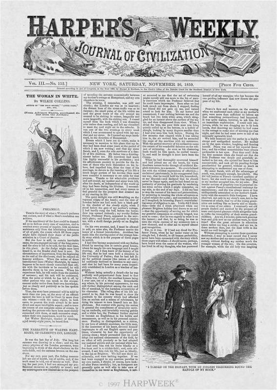 First installment of <em>Woman in White</em> in <em>Harper's</em>