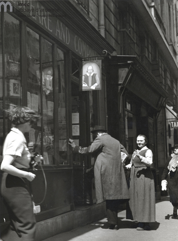 "Gisele Freund photographing Joyce and Adrienne Monnier before Sylvia Beach's bookshop ""Shakespeare and Co."" rue de l'Odeon"