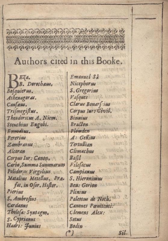 List of Authors Cited in Donne's <em>Biathanatos</em>