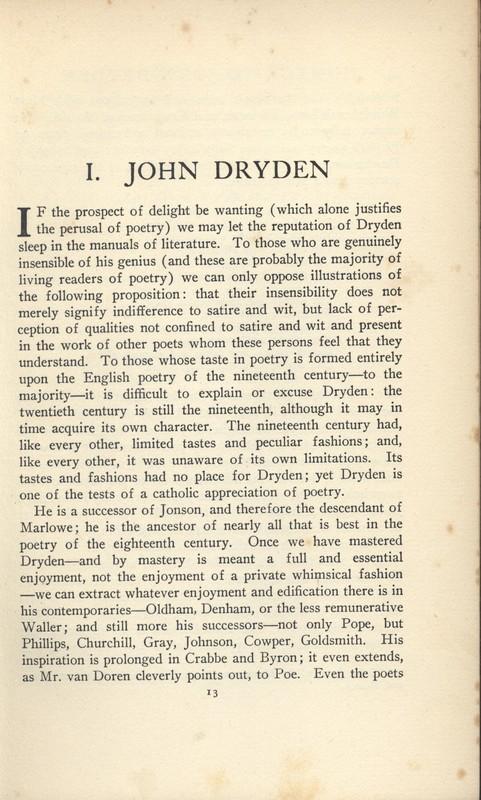 Homage to John Dryden Essay 1