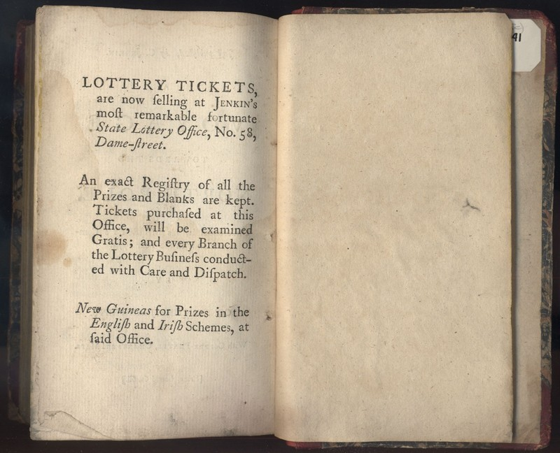 Advertisement for Lottery Tickets Sold by C. Jenkin