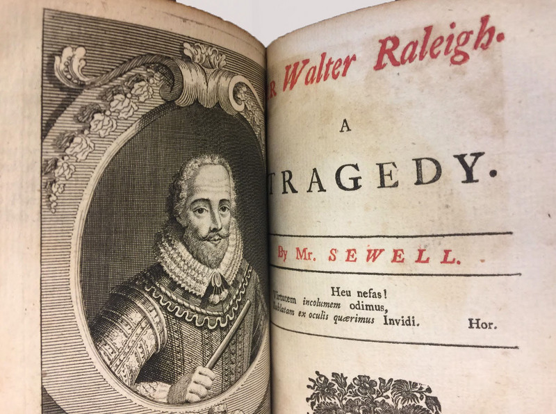 Opening page to George Sewell's Sir Walter Raleigh, A Tragedy