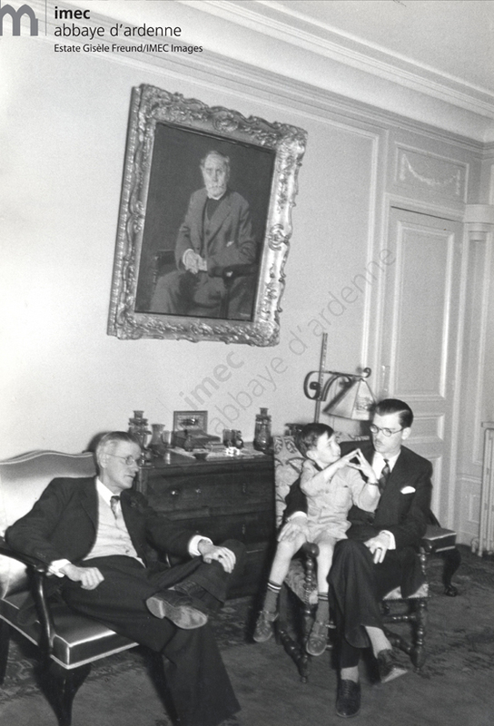 4 generations of Joyces: James Joyce with son Giorgio and grandson Stephen under the portrait of Joyce's father, painted by the Irish painter [Patrick Tuohy]