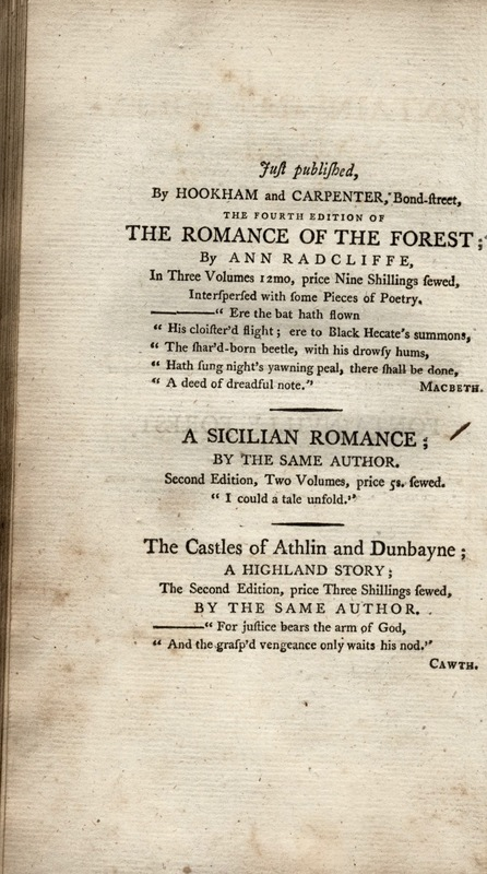 Publication Advertisement in James Boaden's<em> Fontainville Forest.</em>