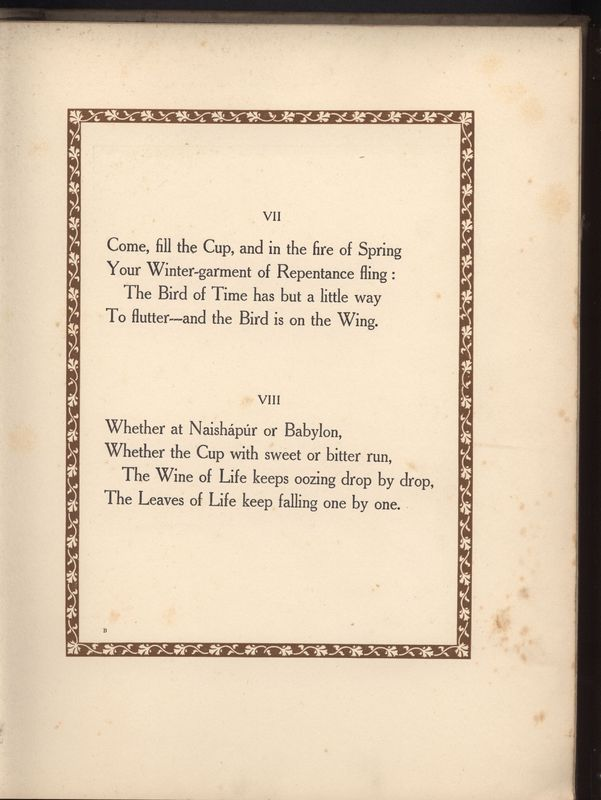 Quatrains Seven and Eight from Fitzgerald's <em>Rubaiyat</em> Published by Hodder & Stoughton (1909)