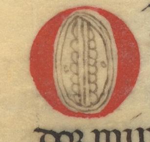 Decorated capital letter O.<em>Regla de la Sagrada orden de Penitencia.</em>