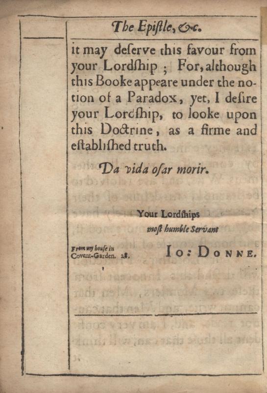 Back of Dedicatory Letter in Donne's <em>Biathanatos</em>