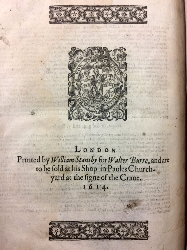Printer's mark from Sir Walter Raleigh's <em>The History of the World</em>, 1614.