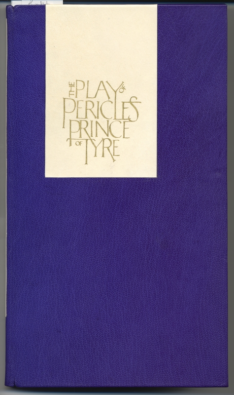 Purple leather front cover of <em>The Play of Pericles Prince of Tyre</em>