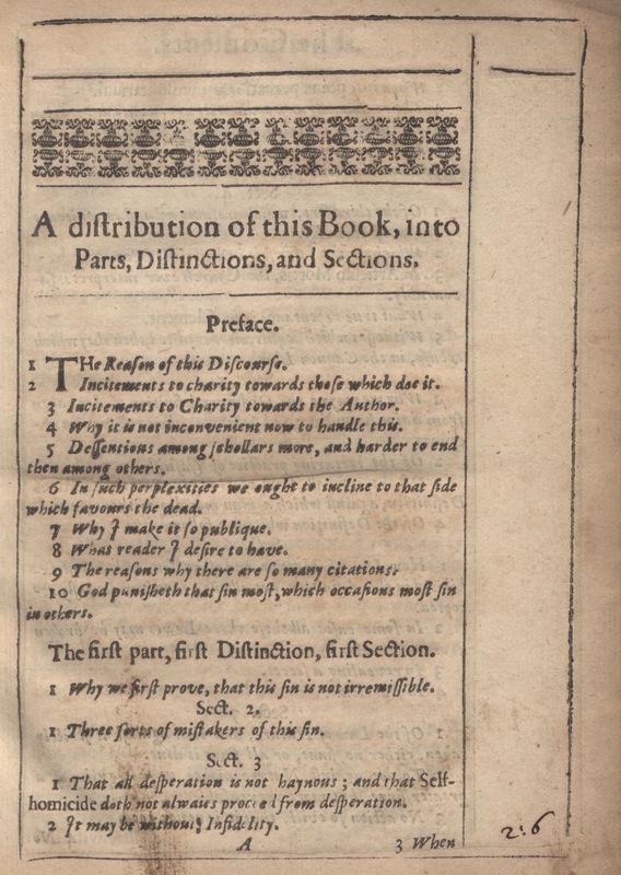 Table of Contents in Donne's <em>Biathanatos</em>
