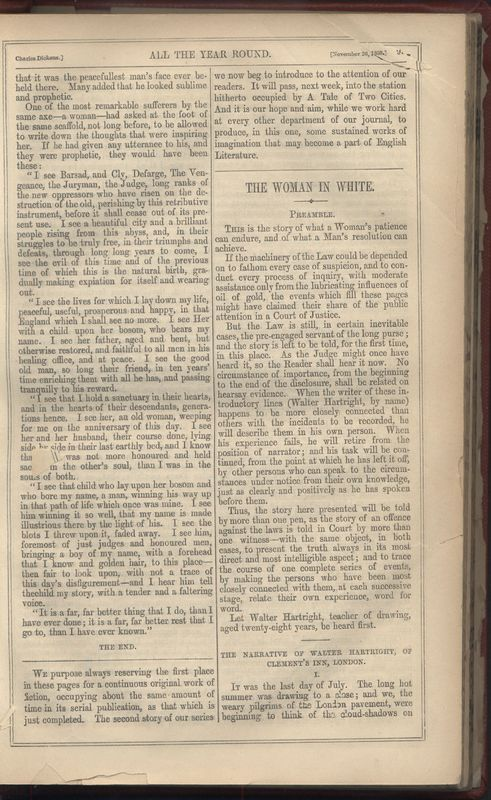 First page of first installment of <em>The Woman in White.</em>