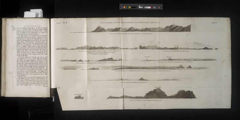 Scan of Captain Cook's Book with Fold Out Map