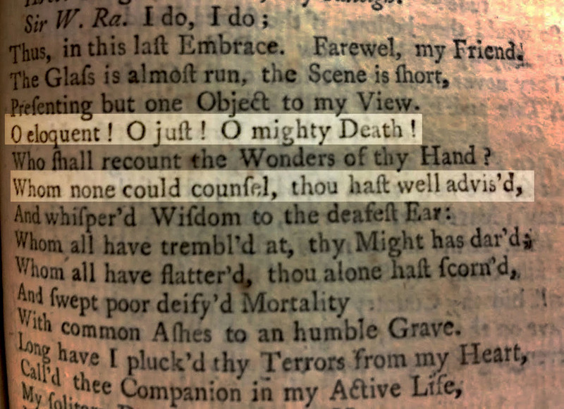Final page of George Sewell's Sir Walter Raleigh, A Tragedy