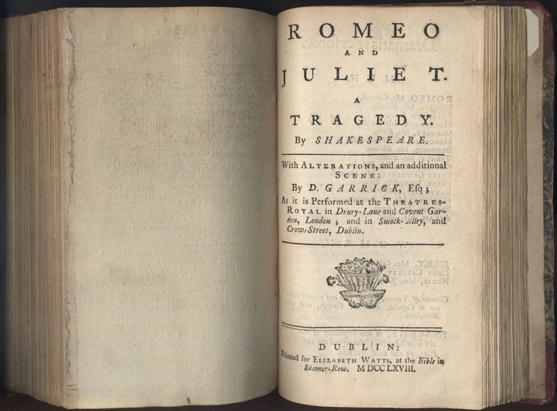 Title Page of <em>Romeo and Juliet </em>by William Shakespeare with Alterations by David Garrick