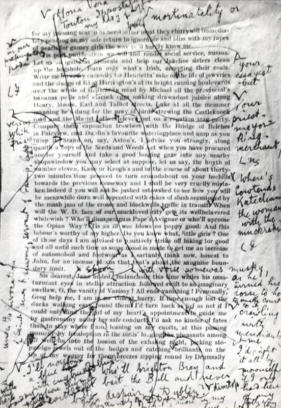 James Joyce - corrected proof of work in progress (Finnegan's Wake) - Transition