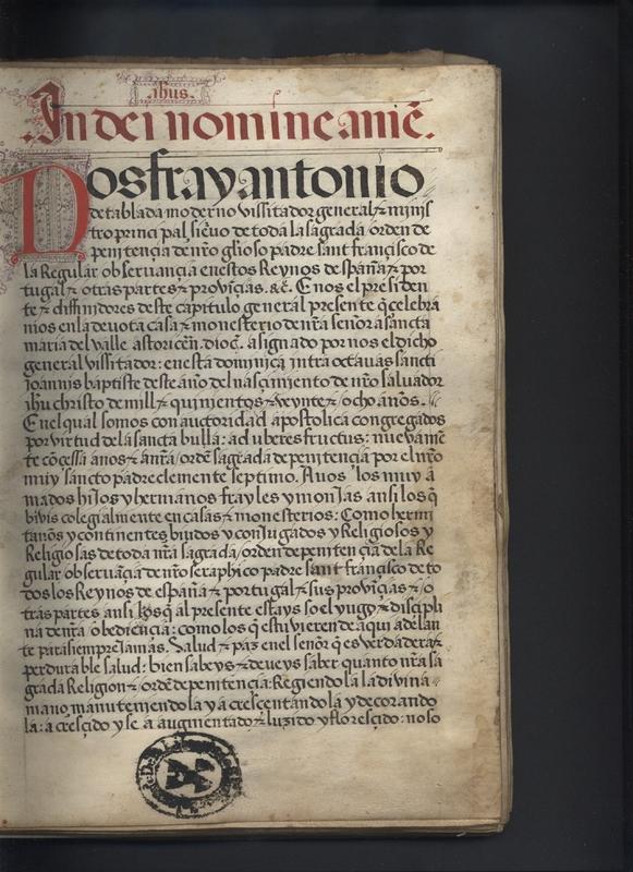 Folio 1r, first folio of manuscript.<em>Regla de la Sagrada Orden de Penitencia.</em>