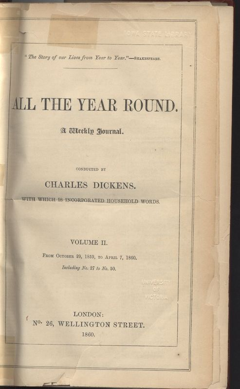 Cover of <em>All the Year Round </em>vol II, bound collection.  <em><br /></em>