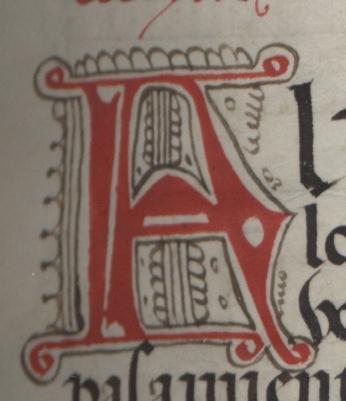 Decorated capital letter A.<em>Regla de la Sagrada Orden de Penitencia.</em>
