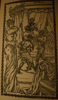 Glassco's<em>Venus in Furs</em>-Franz Buchholz illustration-whipping scene.