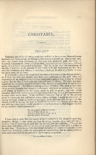 Coleridge, Poetical Works, Christabel Note