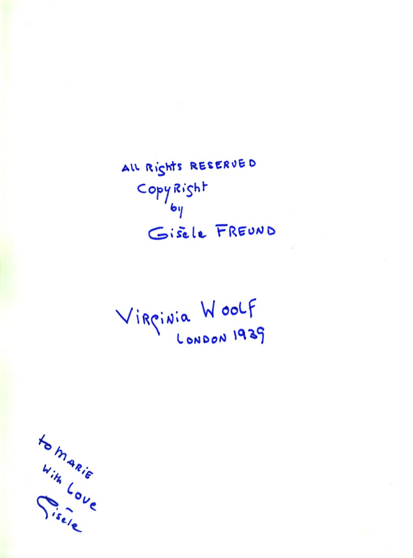 "Back of Virginia Woolf Photograph: ""To Marie, With Love, Gisèle"""