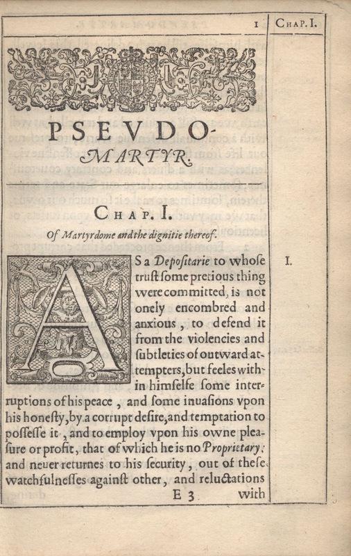 First Page of Donne's <em>Pseudo-Martyr</em>