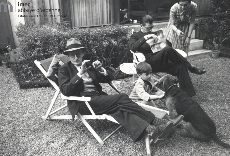 James Joyce, his grandson Stephen with dog Schiap, Georgio and his wife Helen Fleischmann