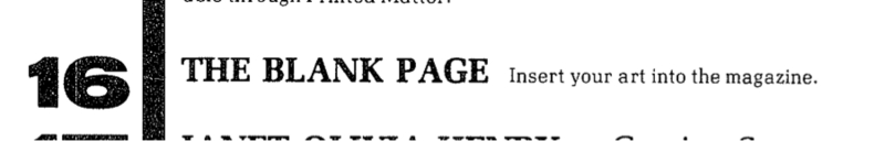"""June 1982's <em>Heresies,</em>table of contents entry for """"The Blank Page"""""""
