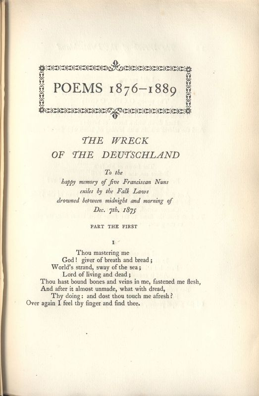 "First page of ""The Wreck of the Deutschland"""